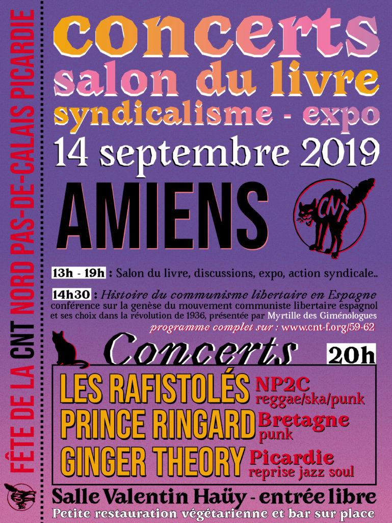 Fête de la CNT à Amiens, syndicalisme, salon du livre, conférence, expo et concerts